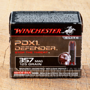 Winchester PDX1 357 Magnum Ammunition - 20 Rounds of 125 Grain Bonded JHP