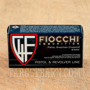 Fiocchi 38 Special Ammunition - 50 Rounds of 130 Grain FMJ