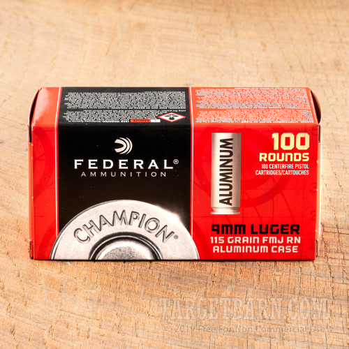 Federal Champion Aluminum 9mm Ammunition - 100 Rounds of 115 Grain FMJ RN