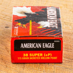 Federal American Eagle 38 Super Ammunition - 50 Rounds of +P 115 Grain JHP