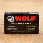 Wolf Polyformance 223 Remington Ammunition - 20 Rounds of 55 Grain FMJ
