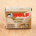 Wolf WPA Military Classic 223 Remington Ammunition - 20 Rounds of 55 Grain FMJ