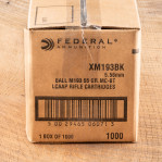 Federal 5.56x45mm Ammunition - 1000 Rounds of 55 Grain FMJBT XM193