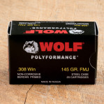 Wolf WPA Polyformance 308 Winchester Ammunition - 20 Rounds of 145 Grain FMJ