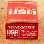 Winchester USA Ready 9mm Ammunition - 50 Rounds of 115 Grain FMJ FN