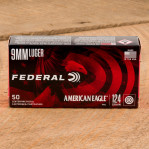Federal American Eagle 9mm Luger Ammunition - 50 Rounds of 124 Grain FMJ