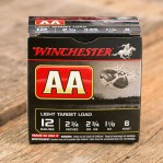 "Winchester AA Light Target Load12 Gauge Ammunition - 25 Rounds of 2-3/4"" 1-1/8 oz. #8 Shot"