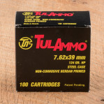 Tula Cartridge Works 7.62x39mm Ammunition - 100 Rounds of 124 Grain HP