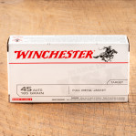 Winchester USA 45 ACP Ammunition - 50 Rounds of 185 Grain FMJ