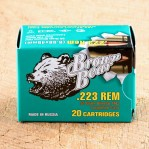 Brown Bear (Lacquered) 223 Remington Ammunition - 20 Rounds of 55 Grain FMJ