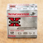 "Winchester Super-X 12 Gauge Ammunition - 250 Rounds of 2-3/4"" 1-1/8 oz. #4 Shot"