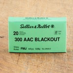 Sellier & Bellot 300 AAC Blackout Ammunition - 20 Rounds of 147 Grain FMJ