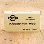 Prvi Partizan 7.62 NATO Ammunition - 20 Rounds of 145 Grain FMJ-BT
