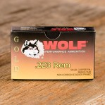 Wolf Gold 223 Remington Ammunition - 20 Rounds of 55 Grain FMJ