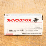 Winchester USA 38 Super Ammunition - 50 Rounds of +P 130 Grain FMJ