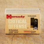 """Hornady Critical Defense 12 Gauge Ammunition - 100 Rounds of 2-3/4"""" 00 Buckshot"""