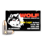 Wolf 9mm Ammunition - 50 Rounds of 115 Grain FMJ
