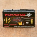 Winchester Train & Defend 40 S&W Ammunition - 50 Rounds of 180 Grain FMJ