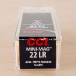 CCI Mini-Mag 22 LR Ammunition - 100 Rounds of 40 Grain CPRN