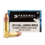22 LR - 40 Grain Copper Plated Round Nose (Solid) - Federal Game Shok - 500 Rounds