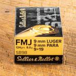 Sellier & Bellot 9mm Ammunition - 1000 Rounds of 124 Grain Grain FMJ