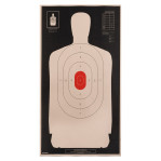 B-34 REV RC Paper Targets - 25 Yd Police Silhouette (Reversed) - Red - 100 Count