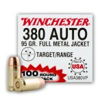 Winchester 380 ACP - 100 Rounds of 95 Grain FMJ