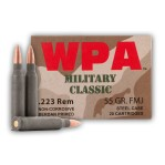Wolf WPA Military Classic 223 Remington Ammunition - 500 Rounds of 55 Grain FMJ