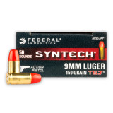 Image of Federal American Eagle Syntech Action Pistol 9mm Ammunition - 500 Rounds of 150 Grain TSJ