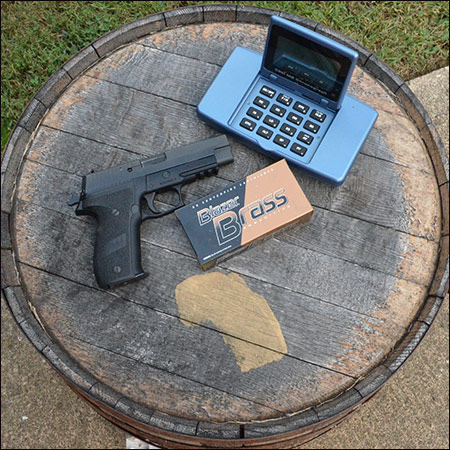 Pistol and chronograph used to measure power factor